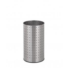 Papelera redonda alta con solapa superior de acero inoxidable perforado